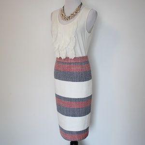 HALOGEN Size 4 Pencil Skirt Red Ivory Blue Stripes